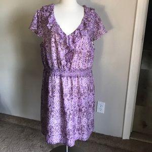 Loft 2-3X women's dress ruffled midi floral print
